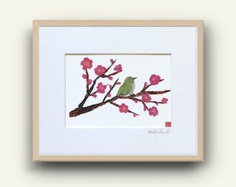 Japanese Bird Print, Bird Wall Art, Whimsical Bird Art, Green Bird Art, Ready To Frame