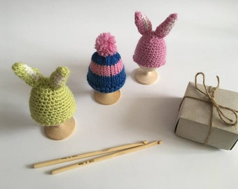 Easter gift knit hats for eggs decor easter hats knit egg easter set 3 knit bunny hats easter gift decor happy ester knitted egg negle Gallery