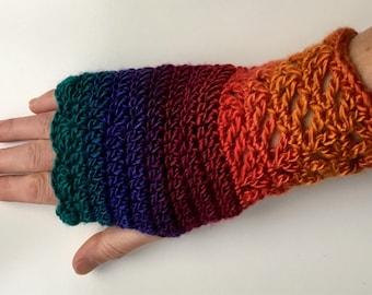 Crochet Fingerless gloves mittens teen ladies arm warmers rainbow