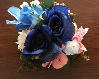 Blue Roses OOAK Floral Moss Wall Art Home Decor