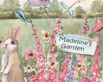 Girl Nursery Wall Art, Personalized Garden Print, Fine Art Print, 5 Sizes, Bunny, Birds, Butterflies, Bird House, Pink, Blue, Yellow, Green