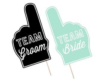 Printable Wedding Photo Booth Props . Team Groom/Bride . Wedding . Bachelor/Bachelorette . Bridal Shower . Mint . Instant Download