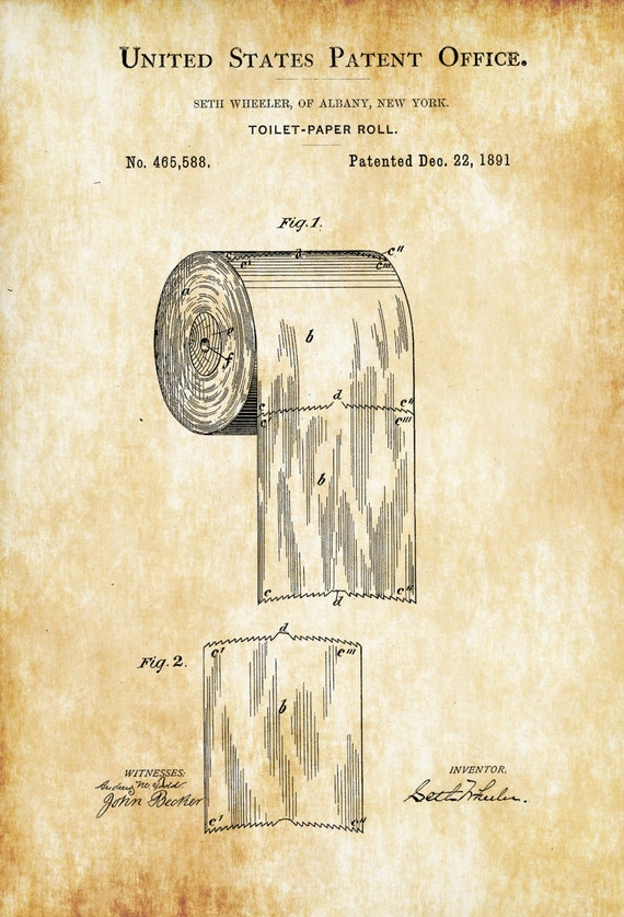 Toilet Paper Patent Patent Print Wall Decor Bathroom