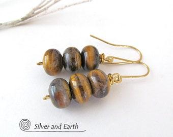 Tiger Eye Earrings, Natural Stone, Gold Brown Stone Earrings, Handmade Minimalist Jewelry, Earthy Simplistic Earrings, Tiger Eye Jewelry