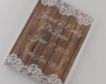 Wedding Photo Album Rustic Personalized Bridal Shower Gift Engagement Anniversary Honeymoon 4x6 or 5x7 Pictures 756 NOT REAL WOOD or Lace
