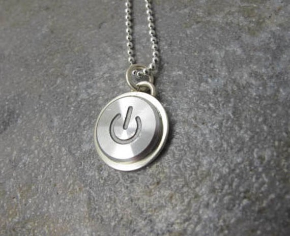 Power up silver pendant only sterling silver handmade like this item mozeypictures Image collections