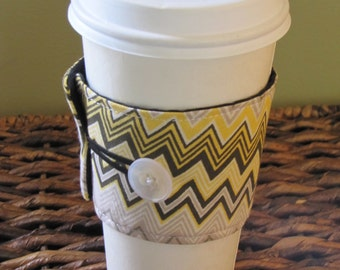 Yellow Chevron Coffee Sleeve Cup Cozy