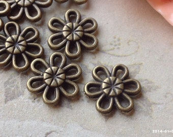 12 mm Antique Bronze Sun Flower Charm Connectors (.mgh)
