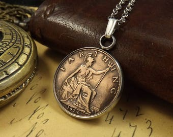 "1924 British Farthing Stainless Steel Bezel Set Coin Necklace on 17.5"" Chain, 94th Birthday Gift"