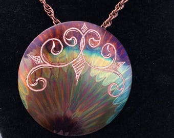 Circular hand engraved pendant made of pure copper and colored with only heat! Unique handmade art