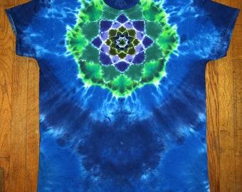 Size XL tie dye front back mandala tshirt OOAK twilightdance
