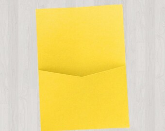 10 Flat Pocket Enclosures - Yellow - DIY Invitations - Invitation Enclosures for Weddings and Other Events