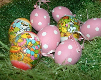 3 Handblown dyed and plastic wrapped Eggshells and 5 pink paper covered eggs