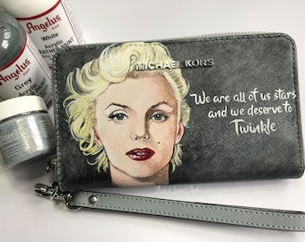 Hand painted Marilyn Monroe Michael Kors wristlet. One of a kind, ready to ship.