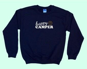 Happy Camper (with smiley sunshine) - Camping Crewneck Sweatshirt