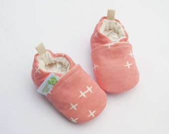 Organic Knits Plus Stars in Pink / All Fabric Soft Sole Baby Shoes / Made to Order / Babies