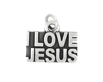 Sterling Silver Religious I Love Jesus Charm Pendant