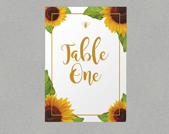 Rustic Sunflower Wedding Table Names/ Number Personalised