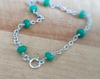 Chrysoprase Bracelet - Green Bracelet - Chrysoprase and Sterling Silver Bracelet - Gemstone Jewelry - Chain Jewellery