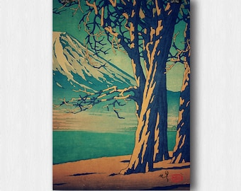 "Vintage Japanese Ukiyo-e Art Print signed Landscape Poster by Kijiermono ""Late Hues at Hinsei"" Wall Home Decor"