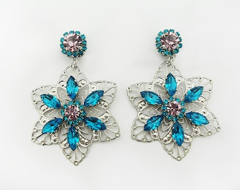 Clip Earrings with steel-plated and zircon-coated filigree crystals and light amethyst