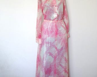 1970s Sequin Evening Dress - vintage pink and white abstract print shirt and maxi skirt - 2 piece dress by Harold Levine size S