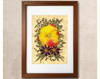 Dried Flower Art Yellow Flower Pressed Flower Decor Red Flower Pressed Flowers Flowers Art Floristry Painting Floral Design Yellow And Red