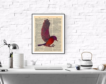 Dictionary Page Art Print,Vintage Dictionary Page Art,Vintage Art Print Orange Red Bird,Printable Dictionary Page Artwork, Antique Printable