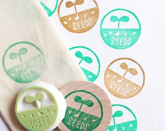 grow seeds rubber stamp | gardening stamp | spring sprout | diy wedding seed packet envelope favor bags | hand carved by talktothesun