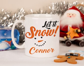Personalised Snowman Mug - Christmas Cups, Xmas Mugs, Personalised Name Mugs, Snowman Cups, Let it Snow, Christmas Mugs, Custom Cups.