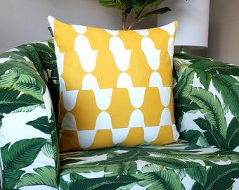 Yellow Wavy Print Pillow Cover