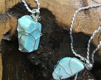 Amazonite Wire Wrapped Pendants on snake chain of your choice