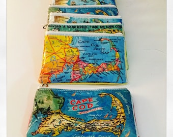 Cape Cod Postcard MapSack coin purse