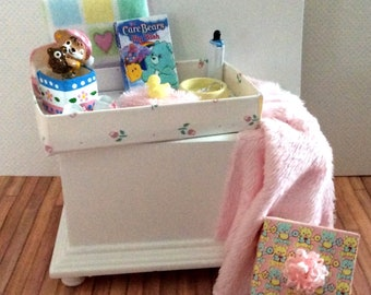 Miniature One Inch Scale Filled Pink and white Baby's Trunk