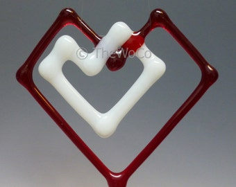 Double-Heart Fused Glass Ornament Suncatcher - Red with White