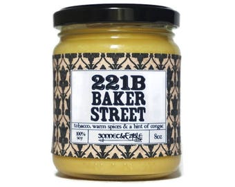 221B Baker Street, Book Candle, Sherlock Holmes Candle, Soy Candle, Book Lover Gift, Old Book Candle