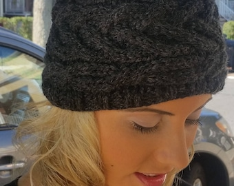 Cable Bunless Hat- Charcoal