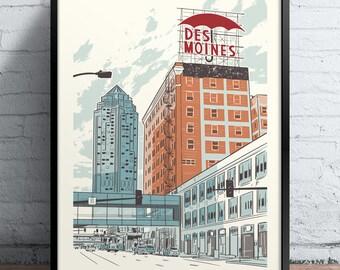 Des Moines Umbrella Screen Printed Poster