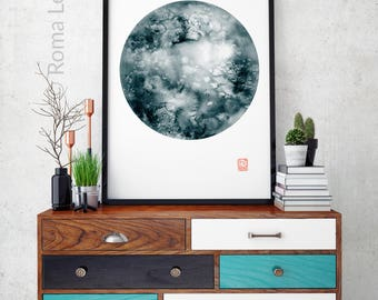 Home decor blue watercolor painting moon painting living room wall art illustration wall art print of original painting kitchen print poster