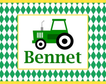SALE-personalized placemat- tractor, john deere inspired