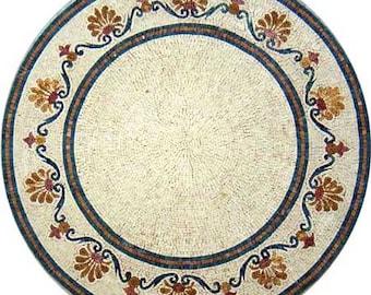 Eccentric Round Medallion Wall Art Marble Mosaic MD599