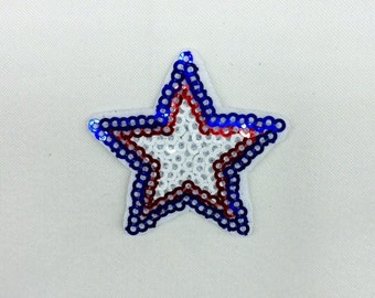 5 Pcs USA Country Iron on Patch / Sewing on Patch Sequin Stars Patch Embellishments Applique
