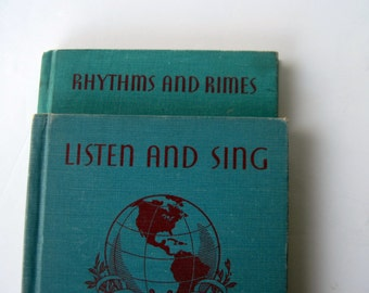 Listen and Sing Rhythms and Rimes The World of Music Books Teal Blue Aqua Red Song Books Elementary Grade Music Children's Song Books