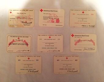 Lot of 8 Vintage American Red Cross Blank Certificate Cards