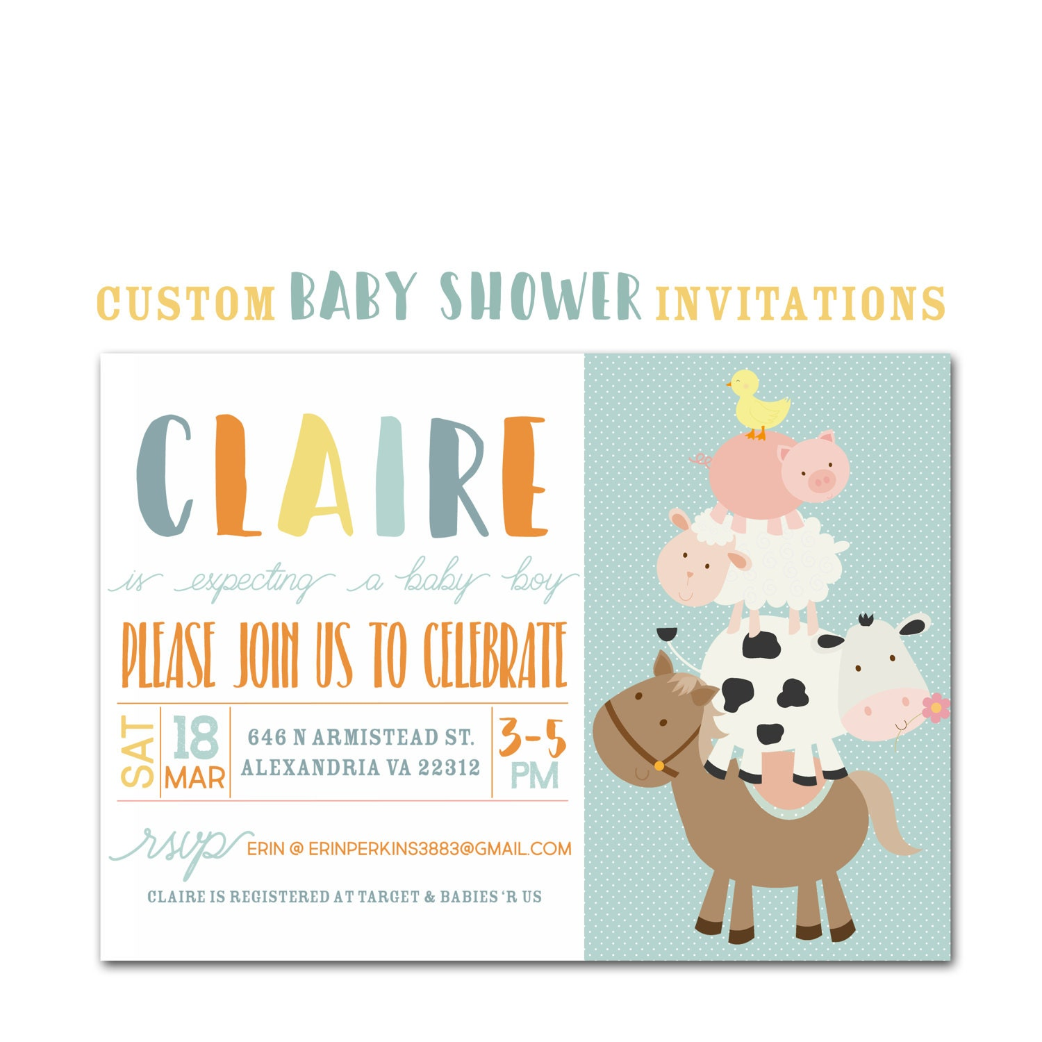Farm Animal Baby Shower Invitation Custom Party Invite Baby