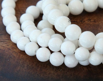 Mountain Jade Beads, White, 8mm Round - 15 Inch Strand - eAJR-W29-8