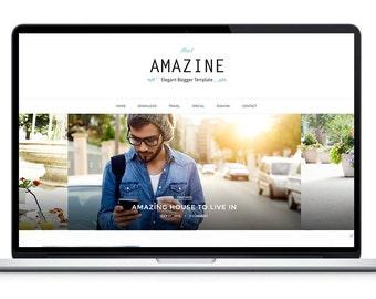 Amazine Premade Blogger Template - Premium Blogger Theme - Responsive Blogger - Minimalist Lifestyle Feminine Blog