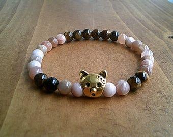 Gold Cat Head Bracelet, Gemstone Beaded Bracelet, Sunstone & Tiger Eye Bracelet Jewelry, 6mm Stone Jewellery, Cat Lover Bracelet UK