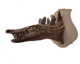 Cardboard Kentrosaurus trophy head