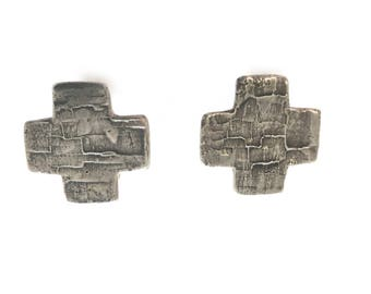 Vintage Handcrafted Southwestern Silver Cross Earrings